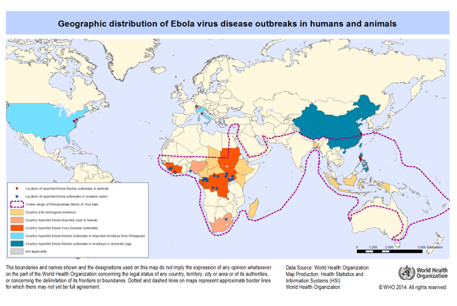 Ebola distribution map 2014