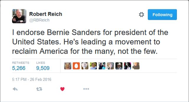 Reich Endorses Sanders
