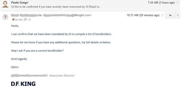 OI Brazil - DF King confirms colelcting data
