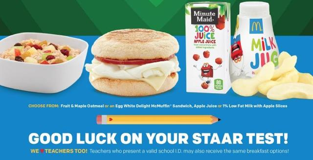 McDonald Free Breakfast Offer On STAAR Day