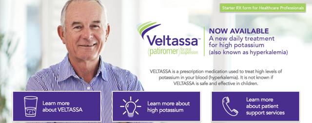 Veltassa banner image from the Veltassa website