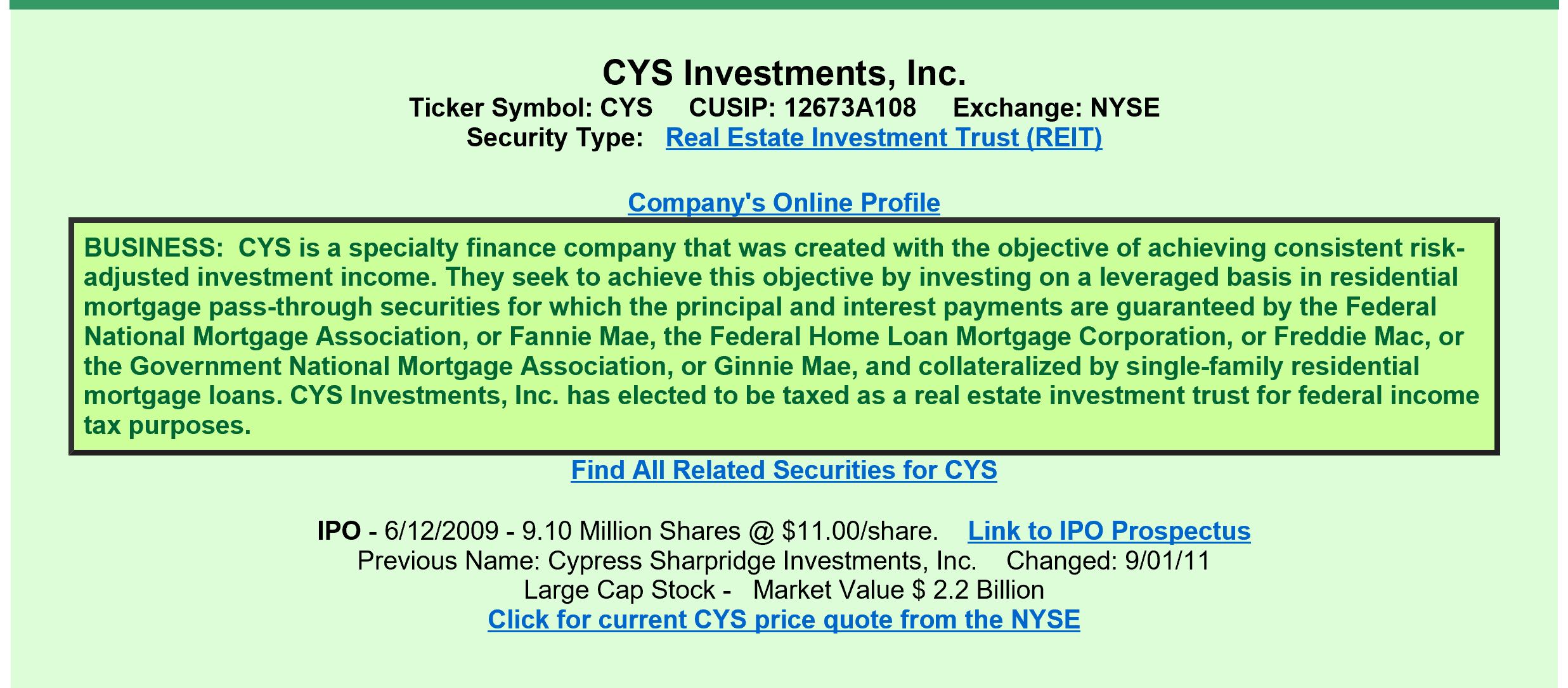Cys investments a view from the perspective of a preferred investor a quick review informs us that cys investments is a finance company that utilizes leverage to invest in residential mortgage pass through securities whose buycottarizona Image collections