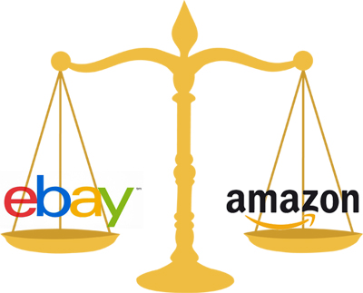 Golden balance beam on white background, which is balancing ebay site logo and amazon's website logo