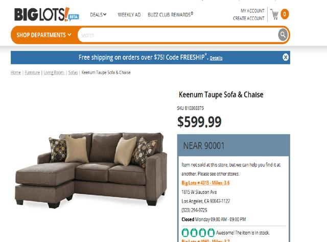 Big Lots Furniture Price
