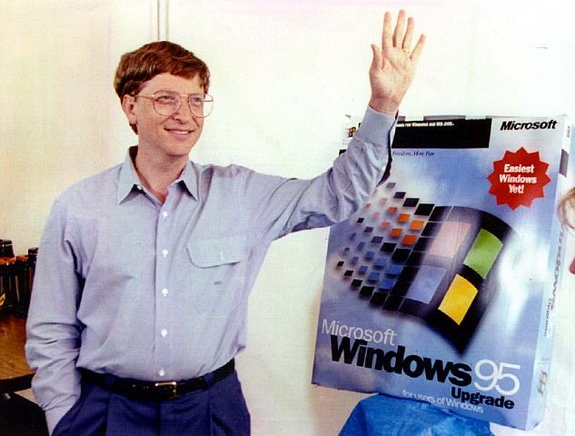 1995 photo of Microsoft cofounder and current technology advisor Bill Gates