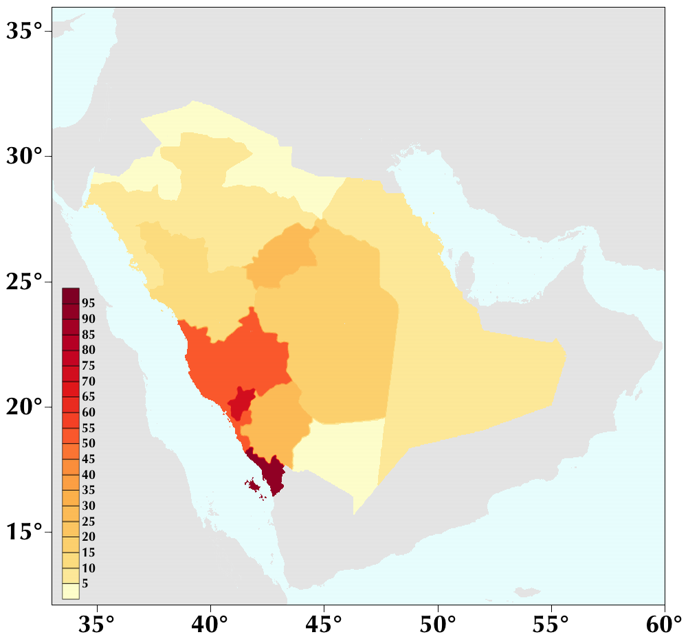 population density of saudi arabia by region yemen