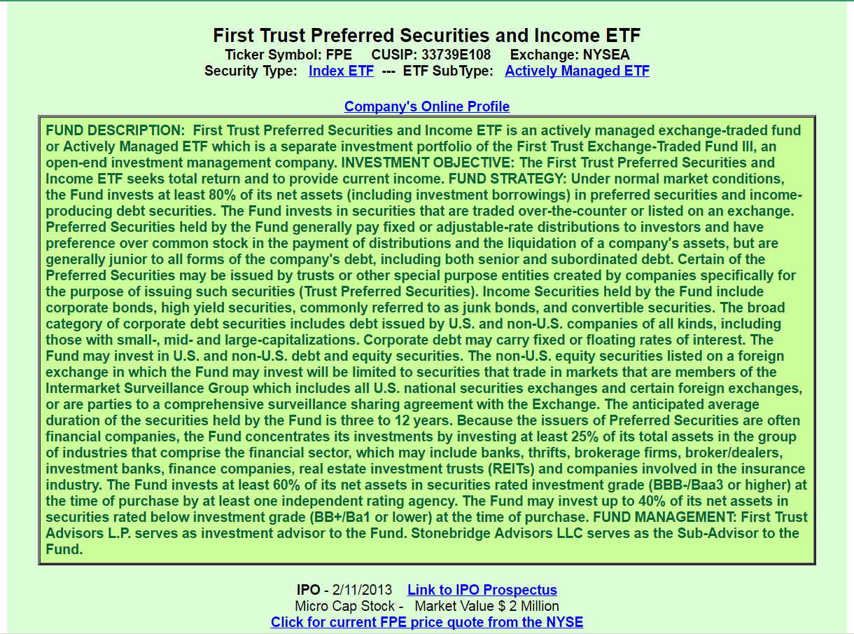 First Trust Preferred Securities And Income Etf A Good Or Bad