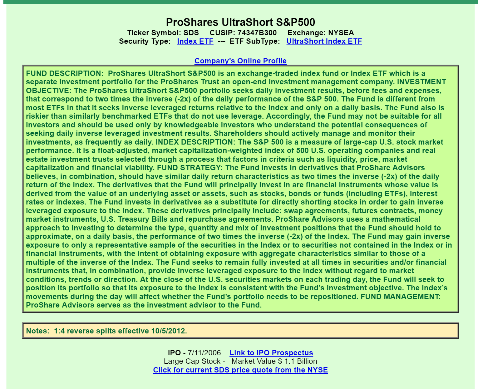 Proshares ultrashort sp 500 etf a good or bad investment frankly im forced to admit that i dont really understand how this fund operates as best as i can tell is that it bets against the sp 500 biocorpaavc Gallery