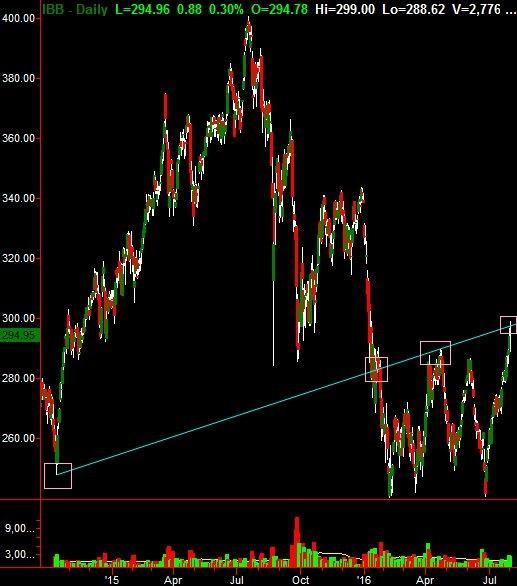Biotech ETF IBB soared on news Biogen Idec might get bought out.