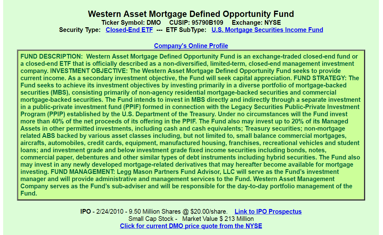 Western asset mortgage defined opportunity fund a good or bad this cefs fees and costs are average management fees total 147 plus unnamed expenses of approximately 015 and interest costs are 053 buycottarizona