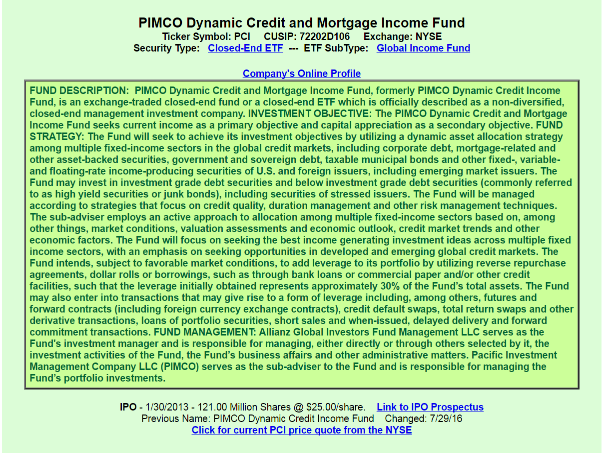 Pimco dynamic credit income fund pci a good or bad investment this cefs fees and costs are above average management fees total 202 plus unnamed expenses of approximately 002 and interest costs of 117 biocorpaavc Image collections