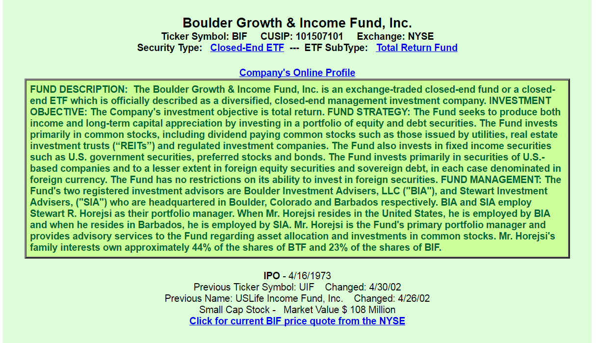 Boulder growth income fund bif a good or bad investment this cefs fees and costs are below average management fees total 097 plus unnamed expenses of approximately 037 and interest costs of 006 biocorpaavc Images
