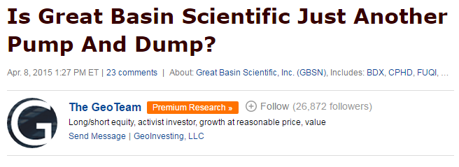 Great basin scientific ipo price