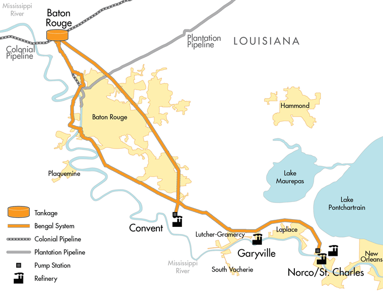 shlx has a 50 interest in the 158 mile refined products pipeline and storage facilities that connects four louisiana refineries colonial