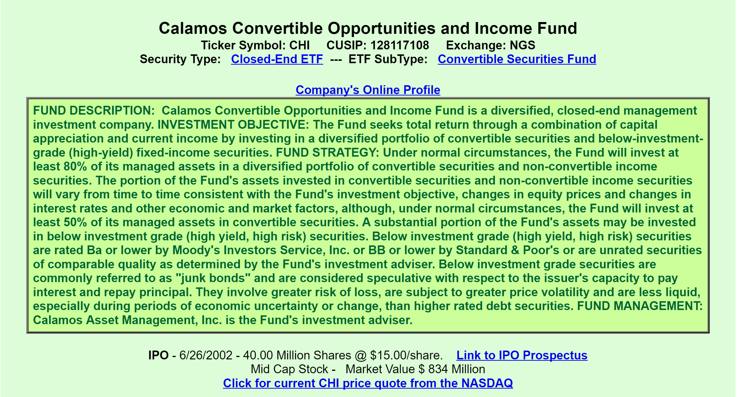 Calamos Convertible Opportunities Income Fund A Good Or Bad