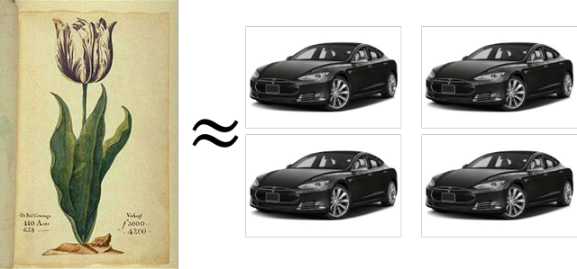Equivalent of one tulip bulb to four Tesla Model S