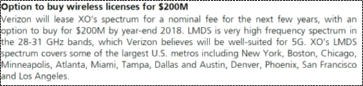 UBS Disclosure of Verizon Purchase for XO Spectrum