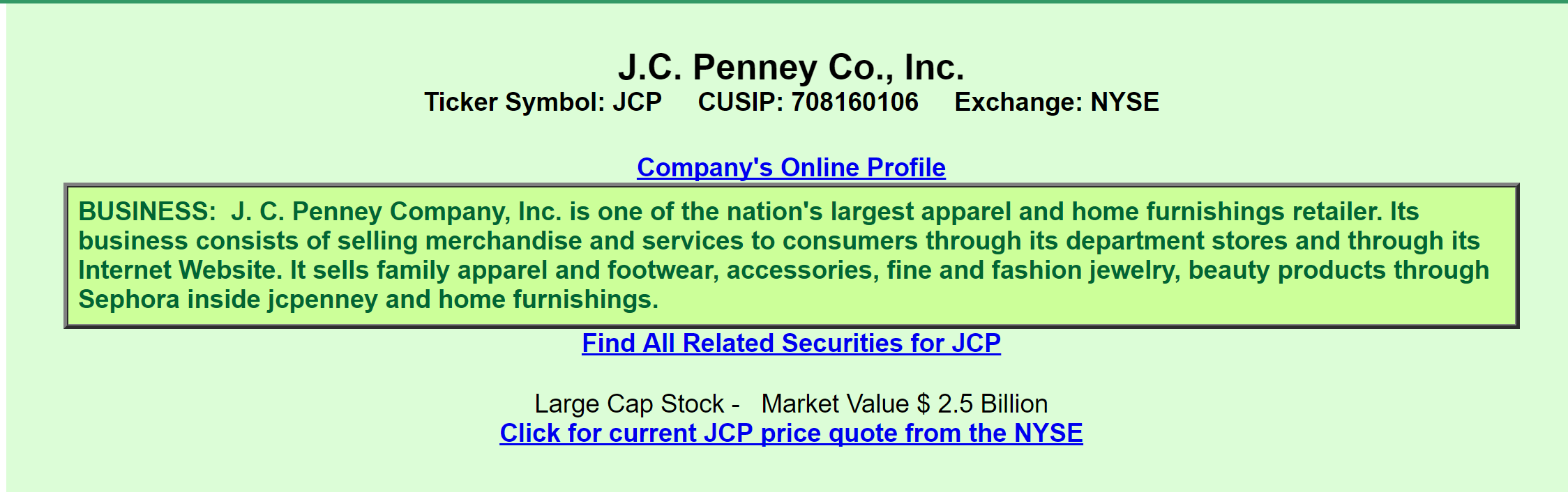 Jcp Stock Quote Jcpenney's Notes A View From The Perspective Of A Preferred