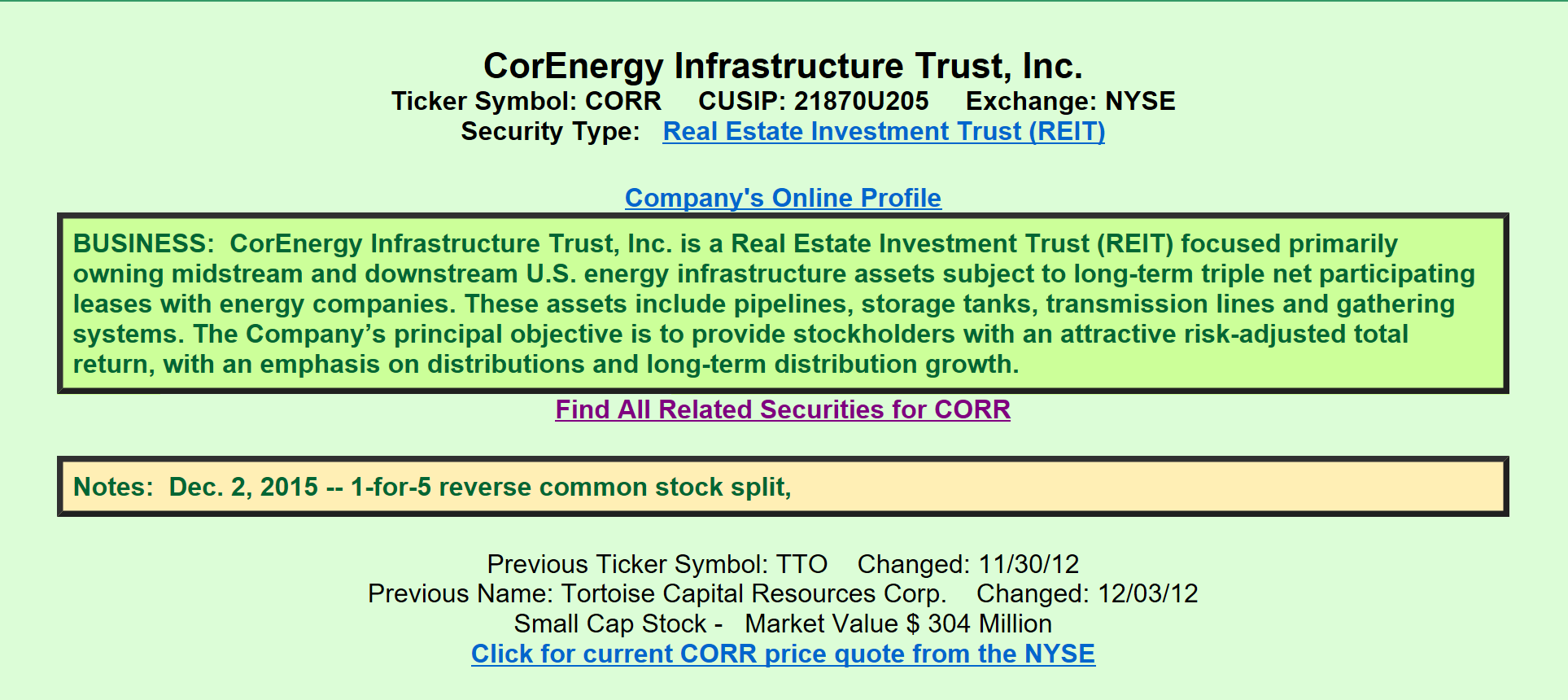Corenergy Infrastructure Trust A View From The Perspective Of A