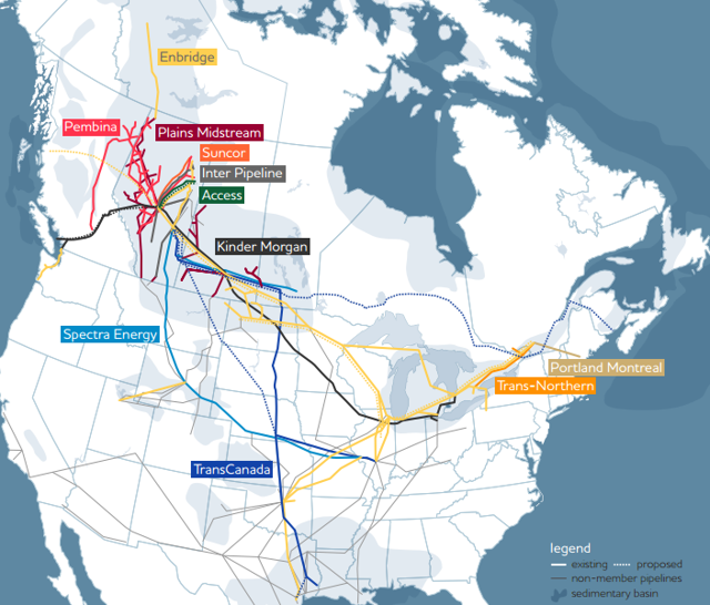 Canadian Liquids Pipelines Map