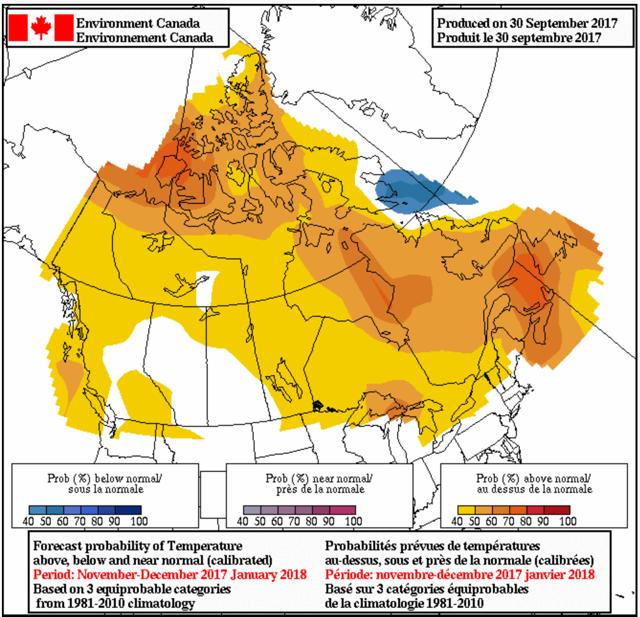 Canada Temperature Probabilistic Forecasts - Current - 2-4 month