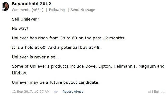 buyandhold 2012 comment on Unilever