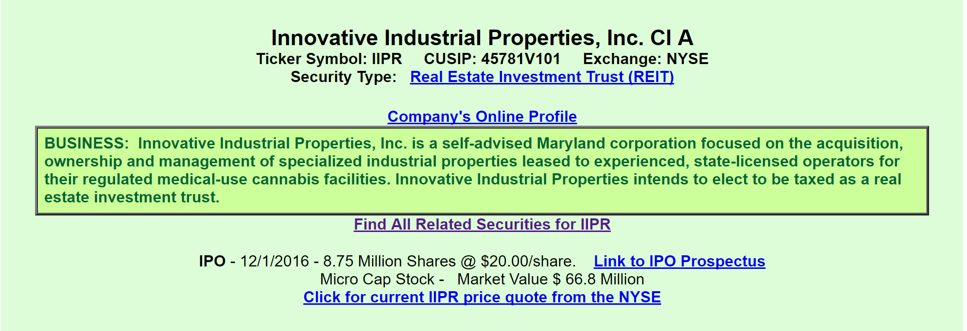 Let s look at it from an investment prospective if a company had - Here We Learn That Iipr Is A Reit Focused On The Acquisition Ownership And Management Of Industrial Properties Leased To State Licensed Operators Involved