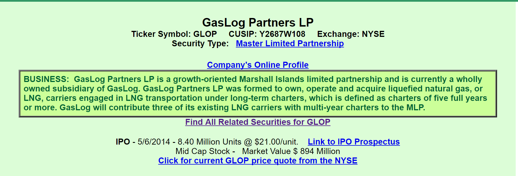 Gaslog partners from the perspective of a preferred investor here we learn that glop is a partnership that ipod 5614 and operates and acquires lng carriers for lng transportation under long term charters of 5 years buycottarizona