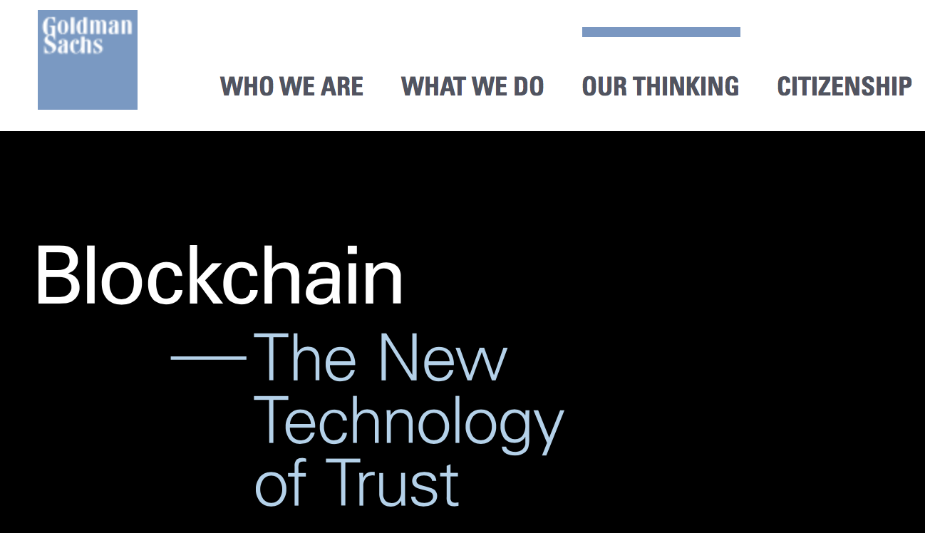 Goldman Sachs And The Blockchain - Goldman Sachs Group Inc ...