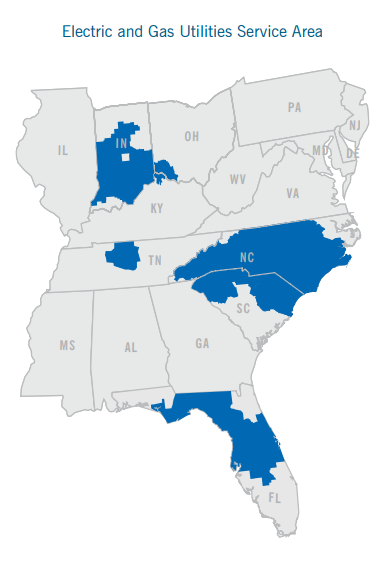 it provides electric services to 75 million retail clients across the carolinas the midwest and florida and natural gas distribution services to 16