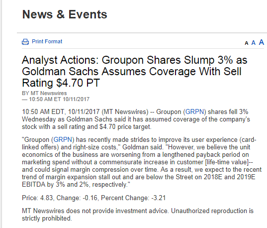 Groupon Stock Quote Glamorous So Much For Goldman Sachs' Groupon Oct11 Downgrade  Groupon