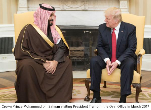 crown prince mohammad bin Salman visiting President Trump in the Oval Office in march 2017