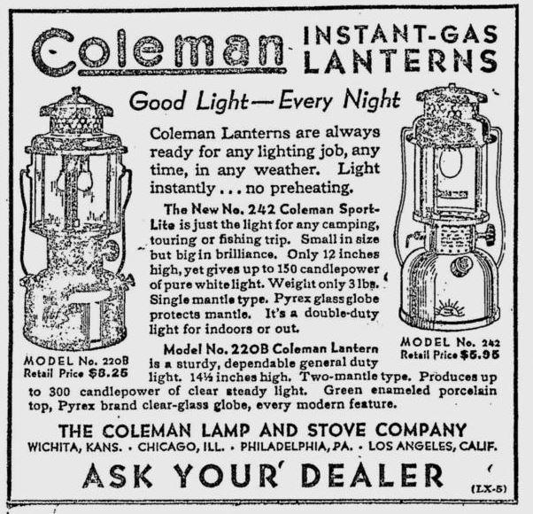 Coleman ad from 1932 in the farm section of a Washington state newspaper, the Deer Park Union.