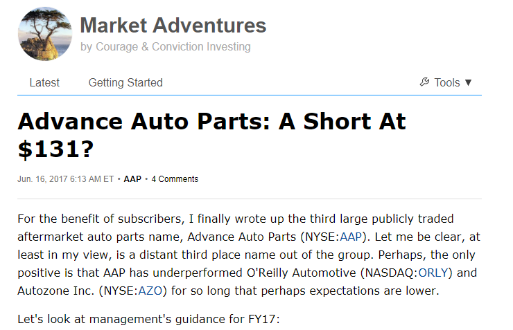 Advance Auto Parts About That Turnaround Advance Auto Parts Inc