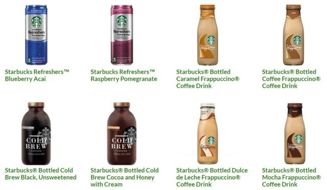 Starbucks bottled coffee and juices drinks
