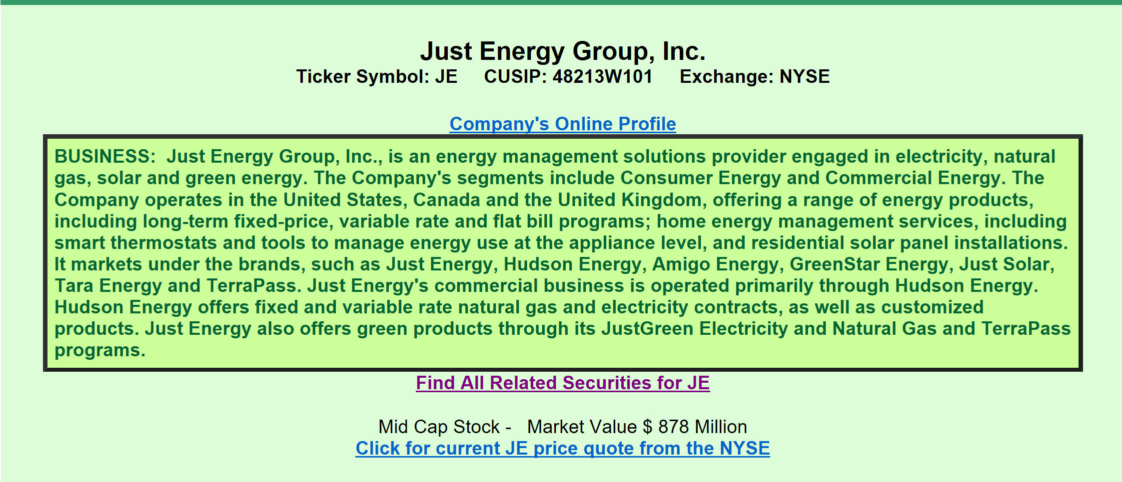 Just energy group viewed through the eyes of a preferred investor a quick review informs us that je is engaged in the distribution of electricity natural gas solar and green energy it ipod with a market value of 878 biocorpaavc Image collections