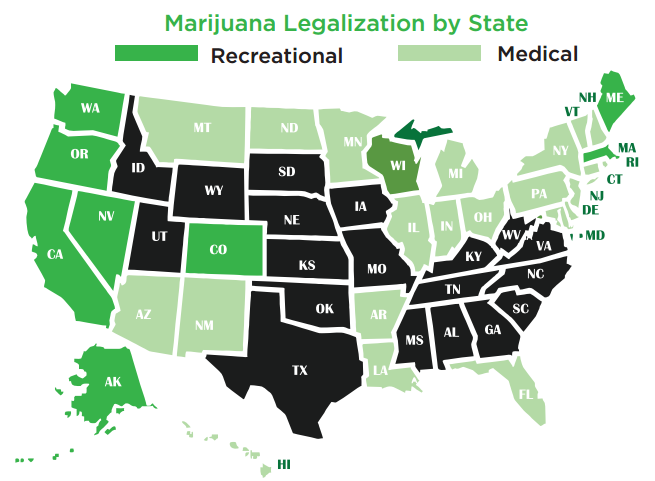 Indirect Plays In The Growing Marijuana Market Seeking Alpha - Us map of legal weed 2017