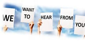 Image result for we want to hear from you pic