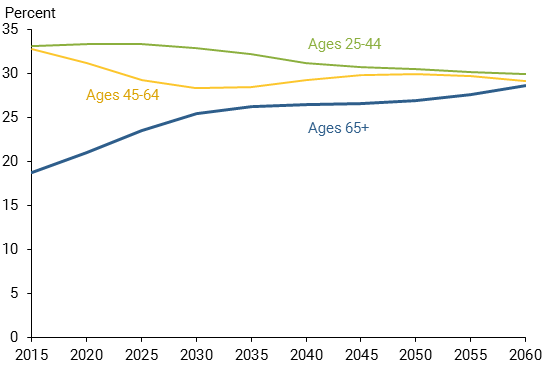 chart shows Projection of U.S. working-age population by age group