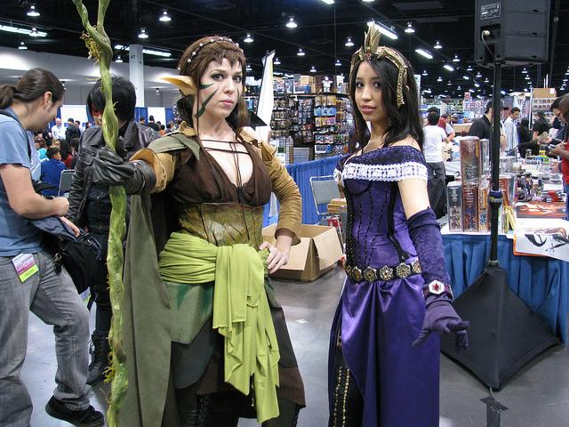 Two Female Fans of Magic The Gathering Dress in Cosplay - Photo by William Tung
