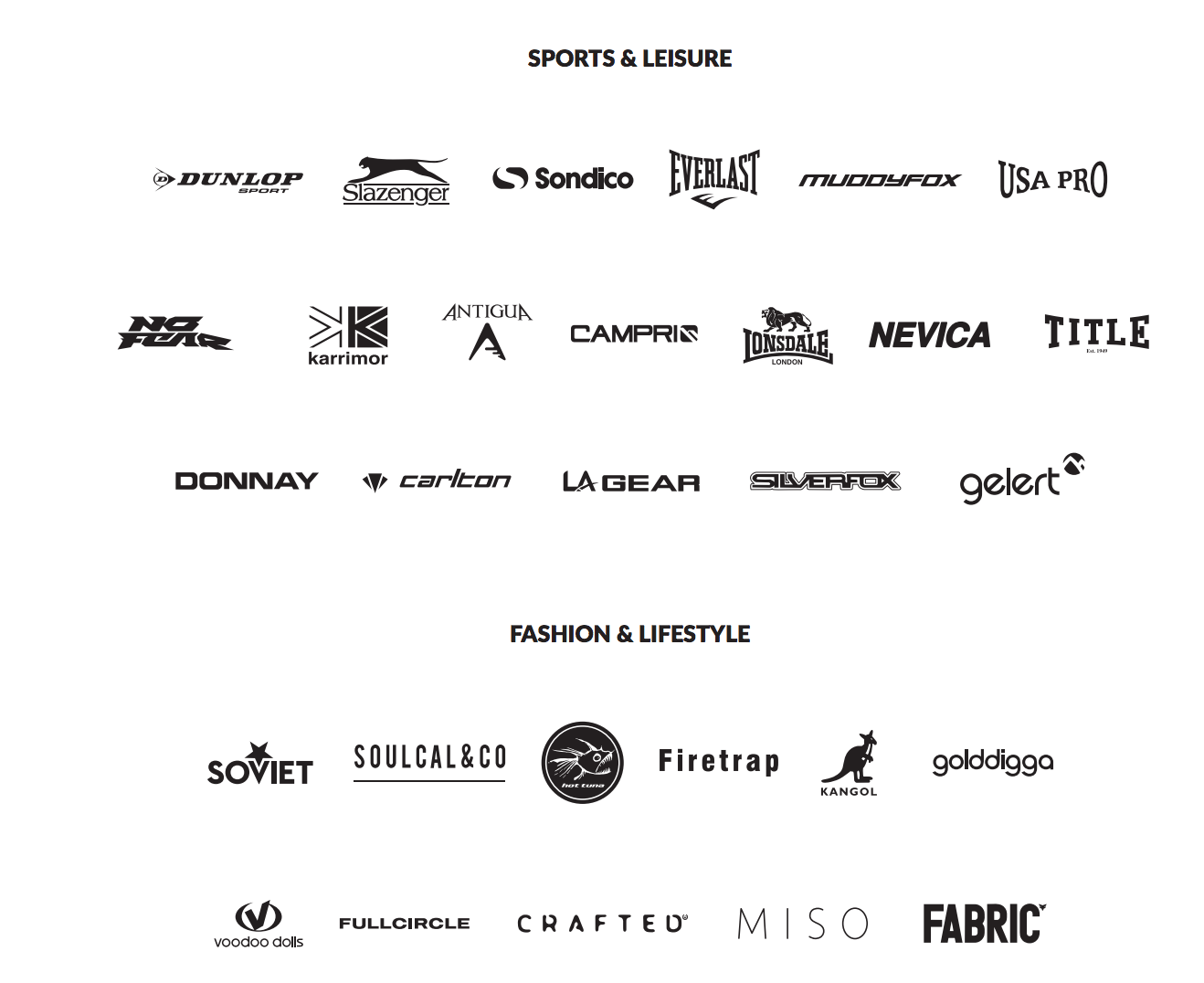 some of sports directs legacy brands include la gear british knights and everlast