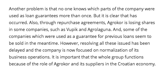 Agrokor loans guaranteed by same assets