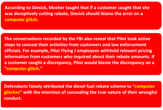 in the pilot flying j lawsuit the fbi recorded pilots actions to conceal its illegal activities from customers if a customer caught a discrepancy - Pilot Fleet Card