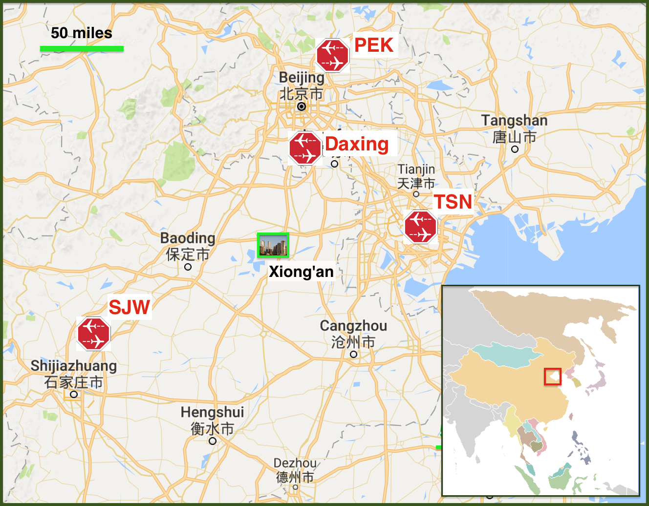 Why Building Another Airport Actually Benefits Beijing Capital - Us-major-airports-map
