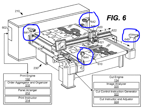 Amazon on-demand manufacturing patent (cutting and arranging)