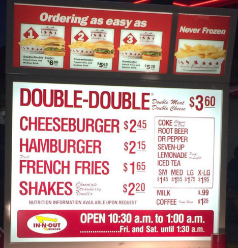 The menu at In-N-Out
