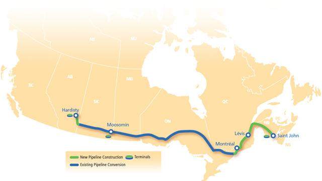Proposed Route for the TransCanada Energy East Pipeline