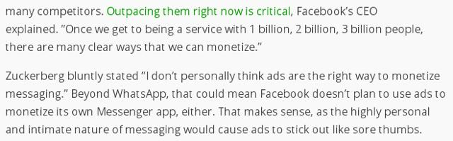 Advertising Is The Best Way To Monetize Facebook Messenger And WhatsApp