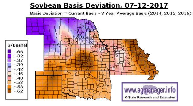 Kansas State soybean basis map