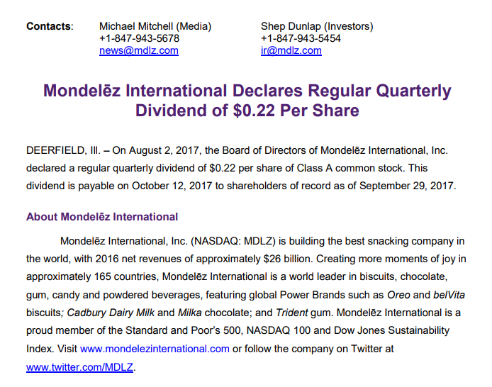 Bailard Inc. Has $322000 Stake in Mondelez International, Inc. (MDLZ)
